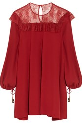 Philosophy Di Lorenzo Serafini Lace Paneled Crepe Mini Dress Red