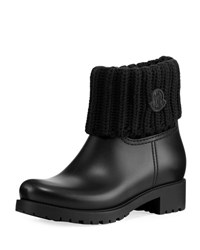 Moncler Rubberized Pull On Rain Boot W Knit Cuff Black