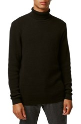 Men's Topman Waffle Knit Cotton Turtleneck