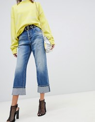 Miss Sixty Highwaisted Straight Leg Jean With Turn Up Blue