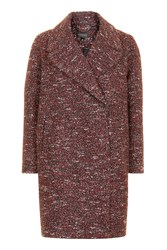 Topshop Double Breasted Cocoon Coat Red