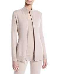 Neiman Marcus Cashmere Zip Front Sweater Creme Brulee