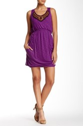 Autograph Addison Beaded Yoke Knit Dress Purple