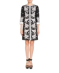 Andrew Gn Embroidered 3 4 Sleeve Coat Black White
