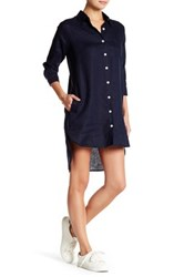 Allen Allen Linen Shirt Dress Petite Blue