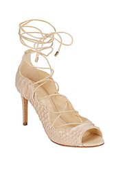 Alexandre Birman Scalloped Python Lace Up Pumps Nude