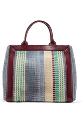 Sandro Ami Leather Trimmed Woven Cotton And Raffia Tote Multi