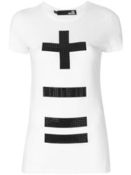 Love Moschino Embellished Cross T Shirt Cotton Spandex Elastane White