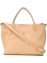 Il Bisonte Open Top Tote Nude And Neutrals