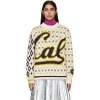 Calvin Klein 205W39nyc Off White And Navy Berkeley Edition University Sweater