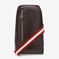 Bally Men's Leather Sling Bag In Chocolate Brown