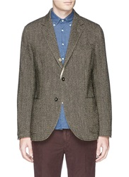 Lardini Reversible Herringbone Tweed Wool Hemp Windbreaker Blazer Brown