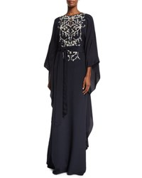 Oscar De La Renta Embroidered Silk Caftan Gown Navy