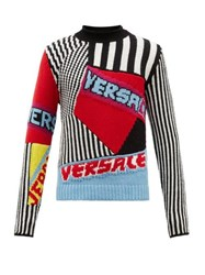 Versace Logo Jacquard Wool Sweater Multi