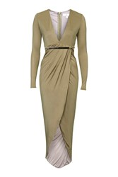 Plunge Hardware Ruche Maxi Dress By Rare Khaki