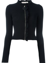 Marni Ruffle Trim Cardigan Black