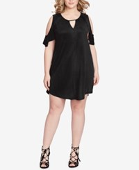 Jessica Simpson Trendy Plus Size Cold Shoulder Shift Dress Black