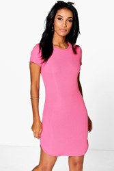 Boohoo High Neck Curved Hem Bodycon Dress Coral