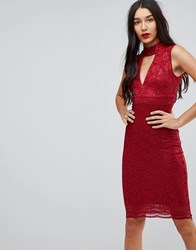Jessica Wright Choker Neck Bodycon Dress Red