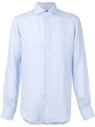 Barba Classic Shirt Men Linen Flax 43 Blue