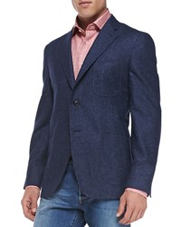 Isaia Donegal Two Button Jacket Blue