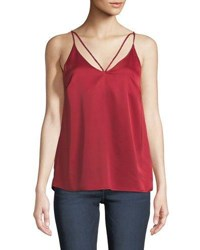 Dex Charmeuse Strappy V Neck Camisole Crimson