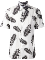 Ovadia And Sons Feather Print Short Sleeve Shirt White