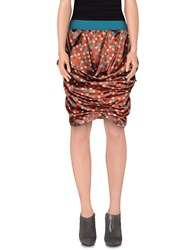 Manila Grace Denim Skirts Knee Length Skirts Women Rust