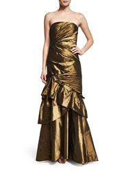 Carmen Marc Valvo Strapless Ruched Evening Gown W Shawl Burnished Gold