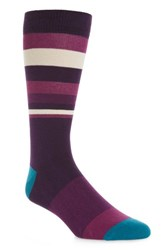 Ted Baker Men's London Striped Socks Deep Purple