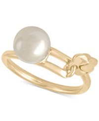 Majorica 18K Vermeil Imitation Pearl Butterfly Statement Ring Gold