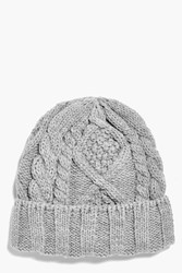 Boohoo Cable Knit Beanie Grey