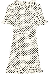 Dolce And Gabbana Ruffled Polka Dot Stretch Cotton Dress White