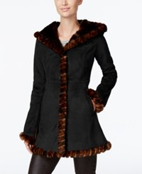 Jones New York Faux Fur Trim Faux Suede Walker Coat Black