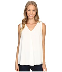 Vince Camuto Sleeveless V Neck Drape Front Blouse New Ivory Women's Blouse Bone
