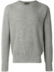 Tom Ford Crew Neck Knitted Sweater Grey