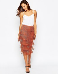 Asos All Over Beaded Fringe Skirt Bronze