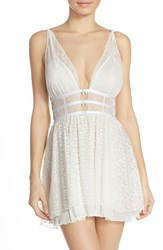Women's Betsey Johnson Leopard Pattern Mesh And Lace Chemise Pearl