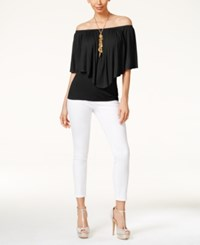 Thalia Sodi Off Shoulder Overlay Top Only At Macy's Black