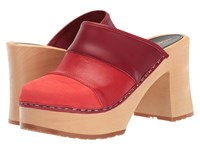 Swedish Hasbeens Color Combo Slip In Red Nubuck Clog Shoes