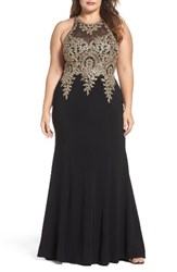 Xscape Evenings Plus Size Women's Embellished Mermaid Gown Black Gold