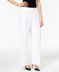 Ny Collection Plisse Wide Leg Pants Bright White