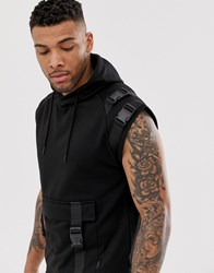 Soul Star Sleeveless Utility Harness Hoodie In Black