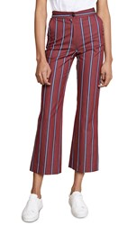 Stella Jean Straight Leg Striped Pants Red Blue