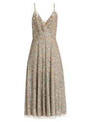 Valentino Sequin Embellished Sleeveless Midi Dress Multi