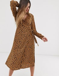 Pieces Abstract Print Wrap Midi Dress Beige