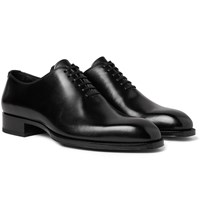 Tom Ford Elkan Whole Cut Polished Leather Oxford Shoes Black