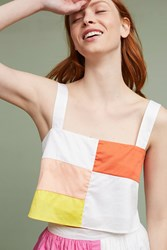 Anthropologie Patchwork Cropped Cami Red Motif