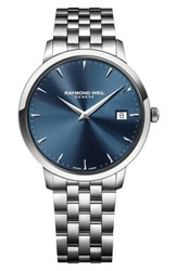 Raymond Weil Toccata Bracelet Watch 42Mm Silver Blue Silver