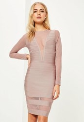 Missguided Purple Long Sleeve Mesh Insert Midi Dress Mauve